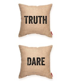 Truth/Dare Burlap Throw Pillow | POSH365INC #Decorative #Accent #Burlap