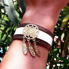 Bracelet manchette cuir attrape rêve