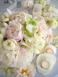 Peonies and candles