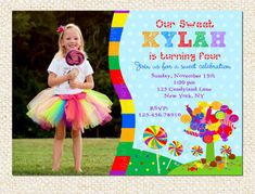 Candyland Birthday Invitations by LollipopPrints on Etsy, $12.00