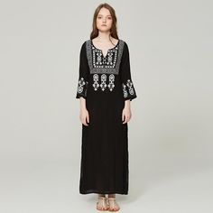 Product Bohemian Inwrought V Neck Long Sleeve Slit Dress Brand Name Emmastars SKU Gender Women Style Bohemian/Casual Type Dress Material Cotton Decoration Printed Colour ONE SIZE inch cm Length 51 130 Sleeve_length 19 48 Bust 38 96 Slit Dress, Buy Dress, Bohemia Dress, Embroidery Dress, Cotton Style, Dress Brands, Sleeve Styles, Casual Dresses, Cover