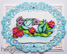 Heartfelt Creations | Relaxing Frog With Pink Lilies