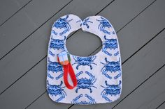 blue crab bib and madras paci clip by YeauxYeauxBows on Etsy, $18.00