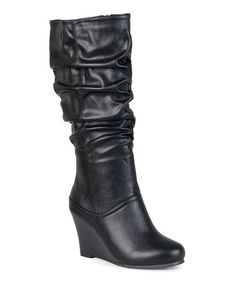 Love this Black Hana Wide-Calf Boot by Journee Collection on #zulily! #zulilyfinds