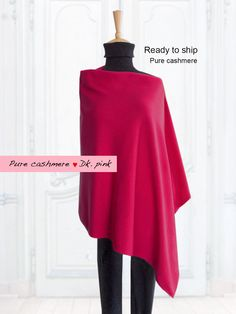 Pure cashmere poncho / Poncho / Cape / Pure cashmere / Women / Dark pink / Ready to ship by SoftyWooly on Etsy Cashmere Poncho, Cape, Cover Up, Ship, Pure Products, Trending Outfits, Pink, How To Wear, Color