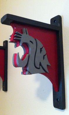 Washington State University rustic book shelf bracket by TheCave61, $30.00
