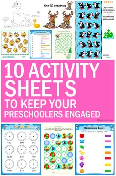 10 Activity Sheets To Keep Your Preschoolers Engaged