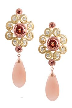 """Pamela Froman's """"Majestic Crush"""" earrings With 18k yellow & pink crushed gold, Malaia zircon center stones, accents of diamonds and Malaia sapphires, as well as insanely attractive peach moonstone drops."""