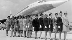 Circa 1960: A line-up of some of the air stewardesses who attend to passengers on board the supersonic jet the 'Concorde,' each one from a different airline. (Keystone/Hulton Archive/Getty Images)  - Glamour in the Skies: Vintage Air Travel Photos | The Weather Channel