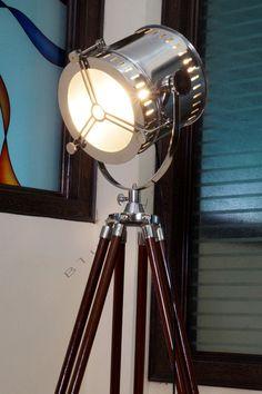 Vintage Designer Nautical Tripod Floor Lamp - Industrial Searchlight Floor Lamp