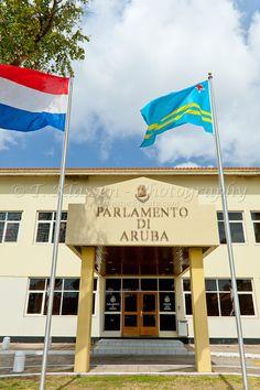 The parliament buildings of Oranjestad, Aruba, Netherlands Antilles.