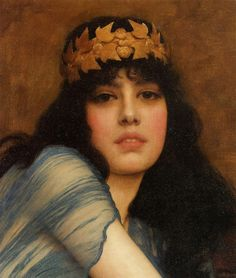John William Godward Head of a Girl, 1896, oil on canvas, private collection. John William Godward was an English painter of the Pre-Raphaelite / Neo-Classicist era. He was a protege of Sir Lawrence Alma-Tadema but his style of  painting fell out of favour with the arrival of painters like Picasso.  He committed suicide at the age of 61