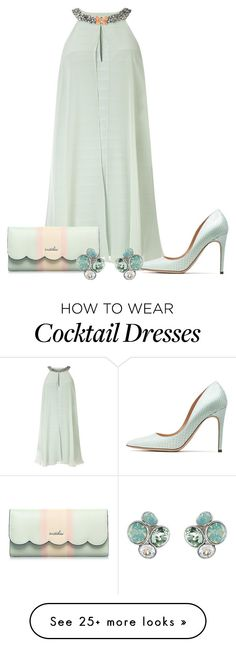 """""""dress"""" by kim-coffey-harlow on Polyvore featuring Adrianna Papell, Rupert Sanderson and Ted Baker"""