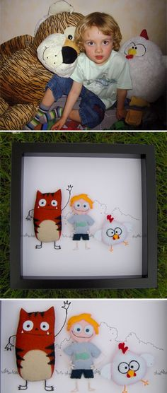 Recreate your child's favorite friends - Felt mounted and framed.