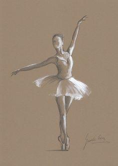 ORIGINAL pencil painting/drawing 12 x 8 on BROWN by EwaGawlik,