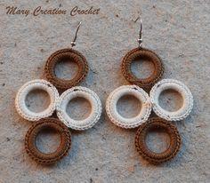 Orecchini 4 cerchi all'uncinetto in cotone beige e marrone di MaryCreationCrochet su Etsy
