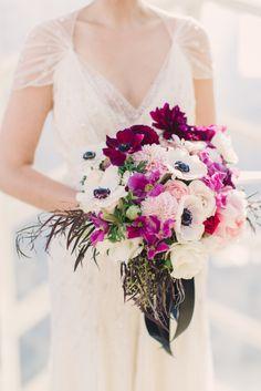 Purple and white anemone bridal bouquet | Lauren Fair Photography | Sullivan Owen Floral and Event Design | www.theknot.com
