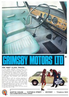 Grimsby Motors Ltd Ad 1968 Advertising Ads, Vintage Advertisements, Vintage Ads, Mini Cooper Classic, Mini Trucks, Old Ads, Motor Car, Art Cars, Volvo