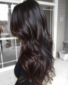 Long dark brown wavy hair