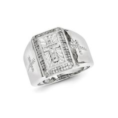Sterling Silver Rhodium Plated Diamond Cross Men's Ring Gold Rings | Silver Rings | Teens Jewelry | Ideal Jewelry | Dream Jewelry | Love Jewelry | Fancy Jewelry | Gift | Jewelry Gift | Jewelry Porn | Wedding Gift