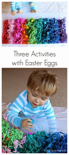 Rainbow Wooden Easter Egg Activities from Fun at Home with Kids