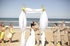 A Sunny Beach Wedding in Glistening Gold