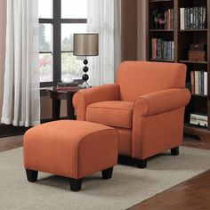 Portfolio Mira Orange Linen Arm Chair and Ottoman | Overstock™ Shopping - Great Deals on PORTFOLIO Living Room Chairs