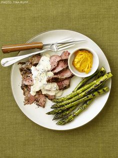 Grilled Flank Steak with Gorgonzola Cream Sauce and Asparagus from FoodNetwork.com