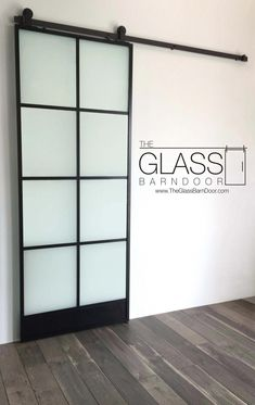 Thin Black Framed Frosted Glass Barn Door 8 Windows Any Size