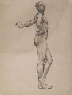 John Singer Sargent, Nude Male Standing (Thomas E. McKeller), c. 1917-20 / Charcoal on off-white laid paper