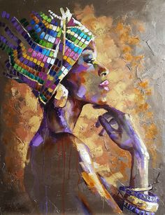 Portrait african woman, abstract portrait woman face, original,oil, canvas Oil painting by Viktoria Lapteva - Porter Sleit African Art Paintings, African Artwork, African American Artwork, African Prints, African Fabric, Portrait Art, Portrait Paintings, Oil Paintings, Landscape Paintings