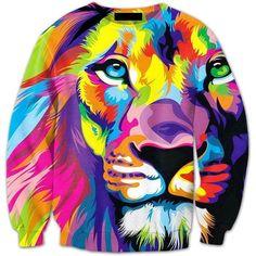 Colorful King Lion Streetwear Full Animal Print 3D Pullover Crewneck