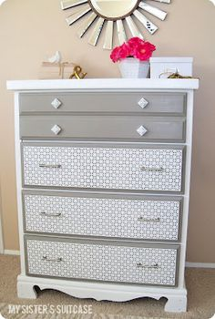 old dresser re-do n( like the break up of color)