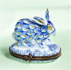 Limoges Blue and White Rabbit Box The Cottage Shop