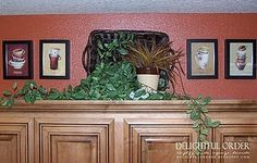 Decorating Above Kitchen Cabinets ~ I Love The Idea Of The Pictures