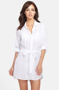 Tommy Bahama Eyelet Belted Cover-Up Boyfriend Shirt