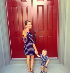 Matching mother and son outfits ! Blue and white stripes