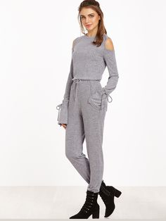 36$  Watch here - http://dij9r.justgood.pw/go.php?t=14376 - Heather Grey Open Shoulder Drawstring Cuff And Waist Ribbed Jumpsuit 36$