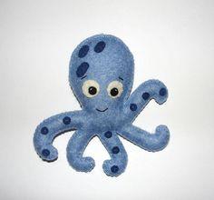 Wool Felt Octopus Ornament Blue Octopus Baby Nursery Decor