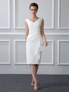 Sheath/Column Tea-length Satin V-neck Mother of the Bride Dr.- Sheath/Column Tea-length Satin V-neck Mother of the Bride Dress with Short Sleev… Sheath/Column Tea-length Satin V-neck Mother of the Bride Dress with Short Sleeve - Tea Length Dresses, Short Dresses, Prom Dresses, Wedding Dresses, Mini Dresses, Modest Dresses, Bridesmaid Dresses, Evening Dresses Online, Evening Gowns