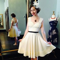 Our favorite funny gal Kristen Schaal popped into our French Quarter dress boutique recently to try on some new styles. How great does she look in the Deb Dress?! #trashydivadebdress #trashydivaribbedrayon