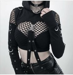 Alternative Outfits, Alternative Mode, Alternative Fashion, Grunge Outfits, Edgy Outfits, Fashion Outfits, Fashion Top, Fashion Clothes, Goth Girl Outfits