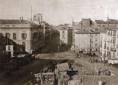Instantánea de la Puerta del Sol de Madrid tomada en 1857.