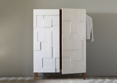 Contemporary wardrobe / wood / lacquered wood / with swing doors ALBA PINCH