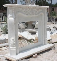 Wonderful Pics Fireplace Remodel marble Style thegatz – Marble Mantel Fireplace Inspired by French Design in Premium White Marble Fireplace Surround, Fireplace Mantel Surrounds, Antique Fireplace Mantels, White Fireplace, Marble Fireplaces, Fireplace Design, Mantle, Portable Electric Fireplace, Mediterranean Living Rooms