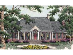 Whittington Plantation Home Front of Home from houseplansandmore.com