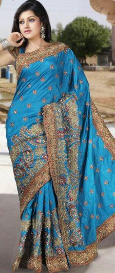 Oriental Saree en soie bleu pur avec Blouse