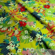 Stoff-Baumwolle-Popeline-kiwi-Kolibri-bunte-Blumen-Philodendron-Baumwollstoff