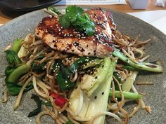 Salmon with stir fried noodles - Wagamama, Ashford