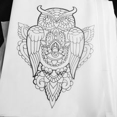 Doing a deal on this owl at 150 fully dotted A4 sized #tattoo #tattooartwork #tattooartist #owltattoo #hamsatattoo #dotwork #blackwork #dotworktattoo #mandalatattoo #girlswithtattoos #girlytattoos by dotworkdan